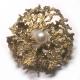 Schmuck - Goldbrosche mit Perle - 585er Gold