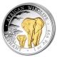Somalia - African Wildlife Elefant 2015 - 1 Oz Silber Gilded