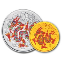 China Lunar Drache (2012) - Silber & Gold Set in Farbe