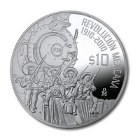 Mexiko - 10 Pesos Revolution Railroad 2010 - 2 Oz Silber PP