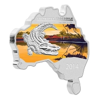 Australien - 1 AUD Map Shaped Serie Krokodil 2014 - 1 Oz Silber PP Color