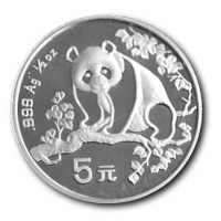China - 5 Yuan China Panda 1993 - 1/2 Oz Silber