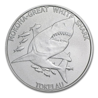 Tokelau - 5 NZD Great White Shark 2015 - 1 Oz Silber