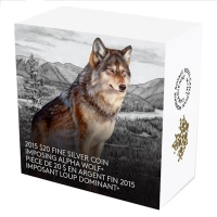 Kanada - 20 CAD Wolf 2015 - 1 Oz Silber Color