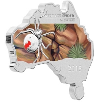 Australien - 1 AUD Map Shaped Serie Redback Spider 2015 - 1 Oz Silber PP Color