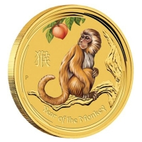 Australien - 5 AUD Lunar II Affe 2016 - 1/20 Oz Gold Color