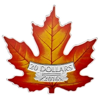 Kanada - 20 CAD Shaped Maple Leaf 2016 - 1 Oz Silber