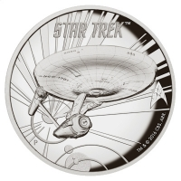 Tuvalu - 1 TVD Star Trek U.S.S. Enterprise NCC-1701 - 1 Oz Silber HighRelief