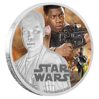 Niue - 2 NZD Star Wars Episode VII Finn - 1 Oz Silber PP