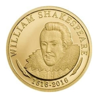 Cook Island - 5 CID 400 Jahre William Shakespeare 1616-2016 - 0,5g Gold