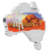 Australien - 1 AUD Map Shaped Serie Dingo 2016 - 1 Oz Silber PP Color