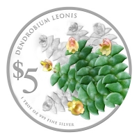 Singapur - 5 SGD Orchideen 2015 Dendrobium Leonis - 1 Oz Silber