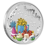 Australien - 1 AUD Happy Birthday 2017 - 1 Oz Silber