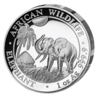 Somalia - African Wildlife Elefant 2017 - 1 Oz Silber HighRelief PP