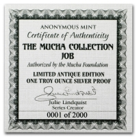USA - Alfons Mucha Kollektion JOB - 1 Oz Silber Antik Finish