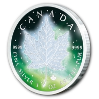 Kanada - 5 CAD Frozen Maple Leaf 2016 - 1 Oz Silber Rhodium