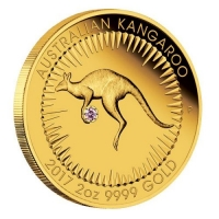 Australien - 200 AUD Känguru Pink Diamanten Edition 2017 - 2 Oz Gold & Diamant