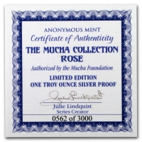 USA - Alfons Mucha Kollektion Rose - 1 Oz Silber Proof