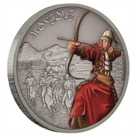 Niue - 2 NZD Warriors of History Mongole 2017 - 1 Oz Silber