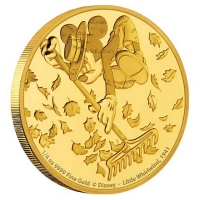 Niue - 25 NZD Disney Mickey Mouse Little Whirlwind 2017 - 1/4 Oz Gold