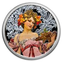 USA - Alfons Mucha Kollektion Champagne White Star - 5 Oz Silber PP Color