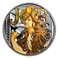 USA - Alfons Mucha Kollektion JOB - 1 Oz Silber PP Color