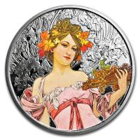 USA - Alfons Mucha Kollektion Champagne White Star - 1 Oz Silber PP Color