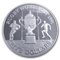 Neuseeland - 5 NZD Rugby World Cup 1991 - Silber PP