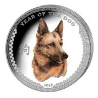 Palau - 5 USD Lunar Hund 2018 - 1 Oz Silber PP Color