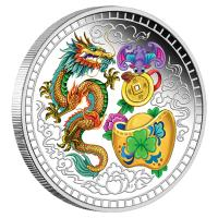 Tuvalu - 1 TVD Chinese Blessing 2018 - 1 Oz Silber Color