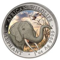 Somalia - African Wildlife Elefant 2018 - 1 Oz Silber Color