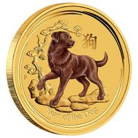 Australien - 5 AUD Lunar II Hund 2018 - 1/20 Oz Gold Color