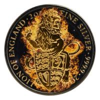 Großbritannien - 5 GBP Queens Beasts Burning Lion 2016 - 2 Oz Silber Ruthenium