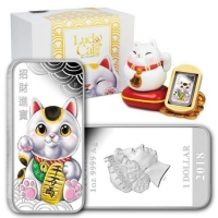 Tuvalu - 1 TVD Lucky Cat 2018 - 1 Oz Silber Proof Color