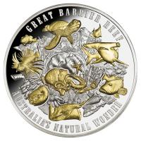 Niue - 10 NZD Great Barrier Reef 2018 - 5 Oz Silber High Relief Gilded
