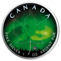 Kanada - 5 CAD Maple Leaf Manitoba Nordlichter 2018 - 1 Oz Silber Color