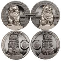 Palau - 20 USD Chinese Guardian Lions 2-Coin-Set 2017 - 4 Oz Silber