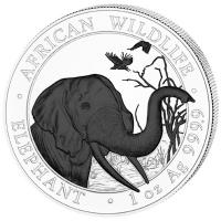 Somalia - African Wildlife Elefant Black and White Set 2018 - 2*1 Oz Silber