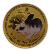 Australien - 5 AUD Lunar II Hase 2011 - 1/20 Oz Gold Color
