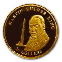 Liberia - 25 Dollar Martin Luther King 2001 - Gold PP