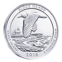 USA - 0,25 USD Rhode Islands Block Island 2018 - 5 Oz Silber