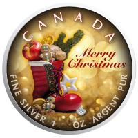 Kanada - 5 CAD Maple Leaf Merry Christmas 2018 - 1 Oz Silber Color