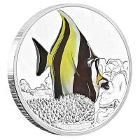 Niue - 2 NZD Reef Fish Halfterfish (Moorish Idol) - 1 Oz Silber