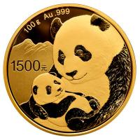 China - 1500 Yuan Panda 2019 - 100g Gold PP