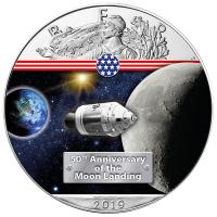 USA - 1 USD Silver Eagle On the Way to the Moon 2019 - 1 Oz Silber Color