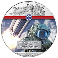 USA - 1 USD Silver Eagle Next Step to the Moon 2019 - 1 Oz Silber Color