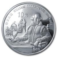 China - 10 Yuan William Shakespeare 1990 - Silber PP
