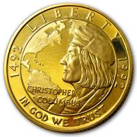 USA - 5 USD Christopher Columbus 1992 - 1/4 Oz Gold
