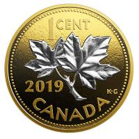 Kanada - 1 Cent Big Coin Maple - 5 Oz Silber Gilded