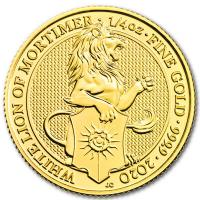 Großbritannien - 25 GBP Queens Beasts White Lion 2020 - 1/4 Oz Gold